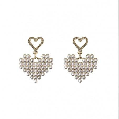 Kolczyki złote wiszące K1272 perełki serca