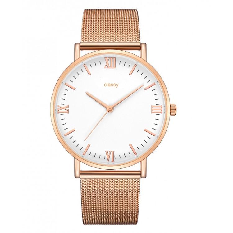 Zegarek damski classy różowe złoto na bransolecie Z688