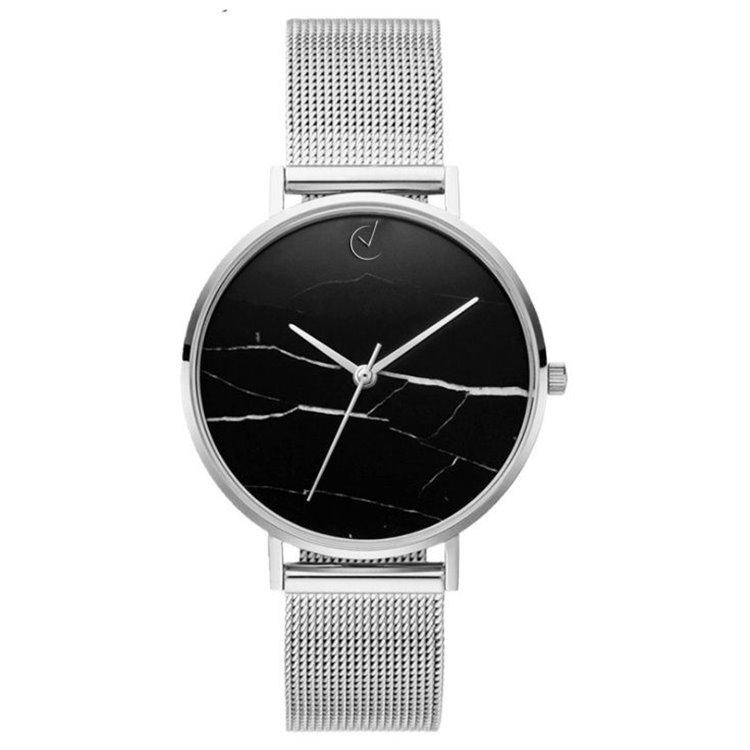 Zegarek damski classy czarny marmur na bransolecie srebrny Z675S