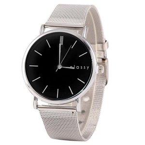 Zegarek damski srebrny z czarną tarczą Z38CZ