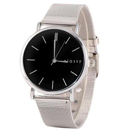 Zegarek damski srebrny z czarną tarczą Z53CZ