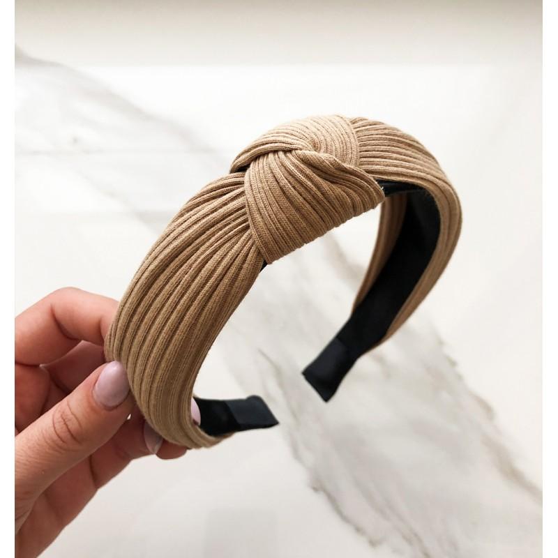 Opaska turban z materiału beżowa O210K
