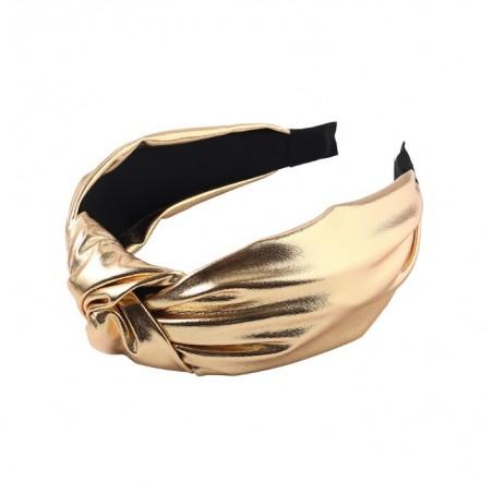Opaska turban ekoskóra lśniąca złota O281Z