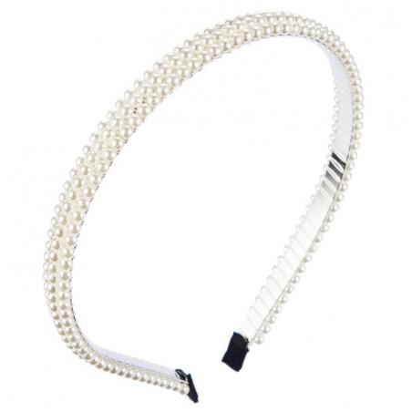 Opaska do włosów srebrna perełki O284