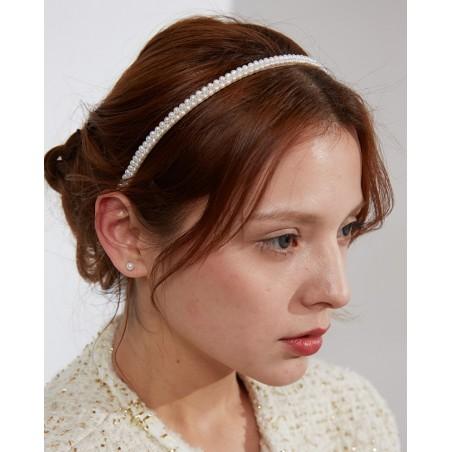 Opaska do włosów srebrna perełki O282