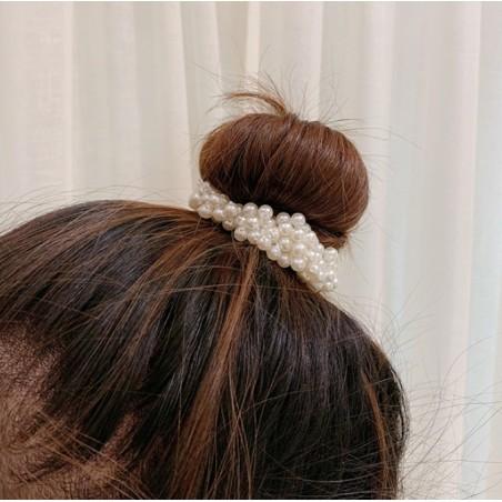 Gumka do włosów perełki biel GUM19B