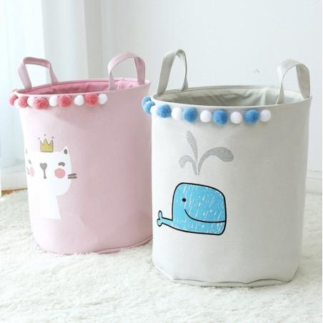 Pojemnik na zabawki, kosz, worek na pranie różowy kotek OR29WZ8