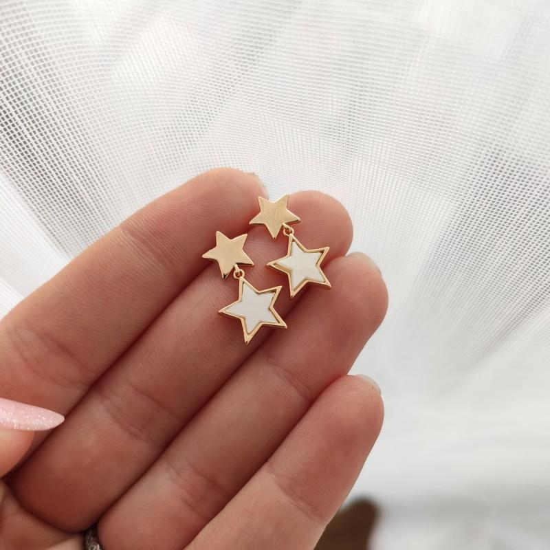 Kolczyki ze stali chirurgicznej platerowane złotem KST1636