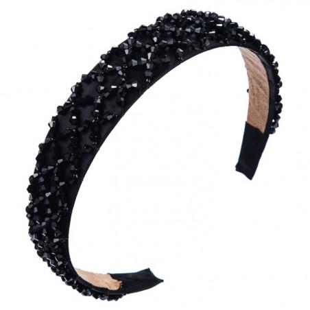 Opaska do włosów kryształki CZERŃ O312