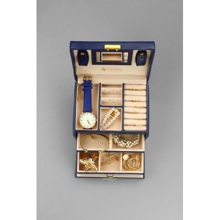 Szkatułka na biżuterię, kuferek w kolorze granatowym STENBERG PD49GRAN