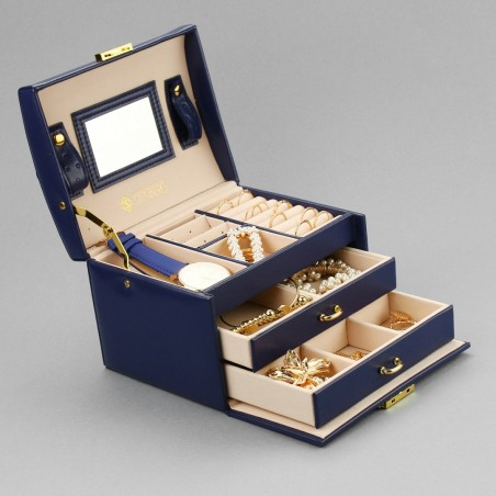 Szkatułka na biżuterię, kuferek w kolorze granatowymu STENBERG PD49GRAN