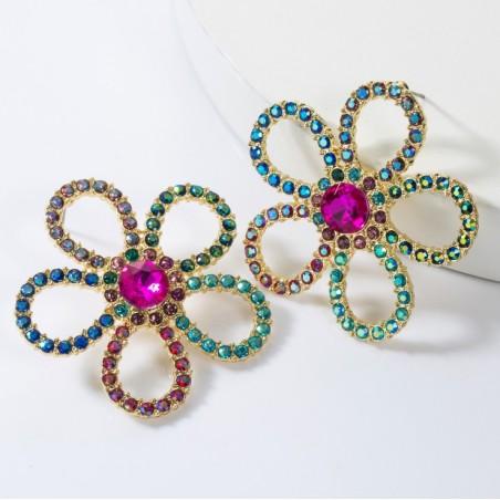 Kolczyki wiszące kryształowe dżetowe kwiat K1478