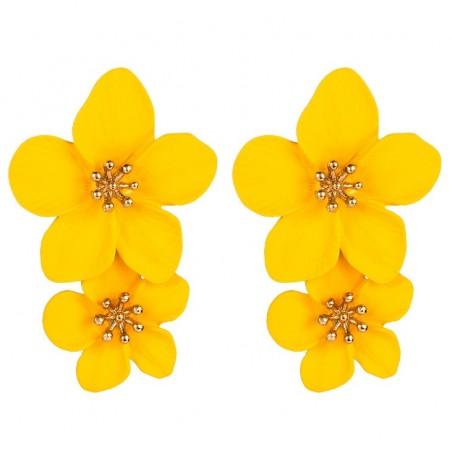 Kolczyki przy uchu Kwiaty Floral podwójne K1487ZO żółte