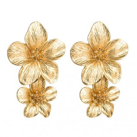Kolczyki przy uchu Kwiaty Floral podwójne K1487Z złoto