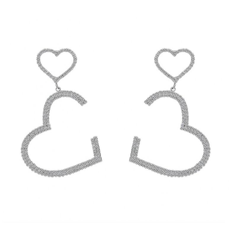 Kolczyki wiszące Dżetowe serca srebrne K1464S