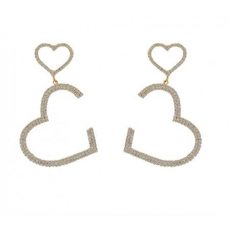 Kolczyki wiszące Dżetowe serca złote K1464Z