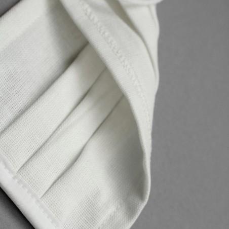 Maseczka ochronna bawełniana Oekotex biała z przeszyciem MA08
