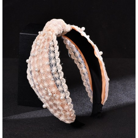 Opaska turban z materiału koronkowa z perełkami O224