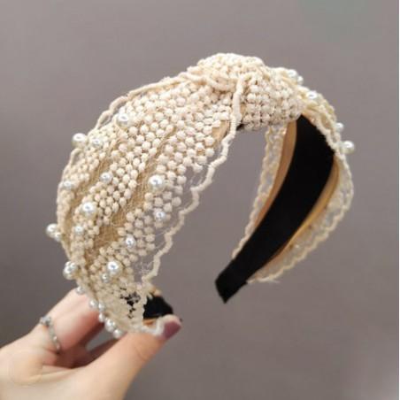 Opaska turban z materiału koronkowa z perełkami O225