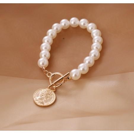Bransoletka sztuczne perły z monetą B491
