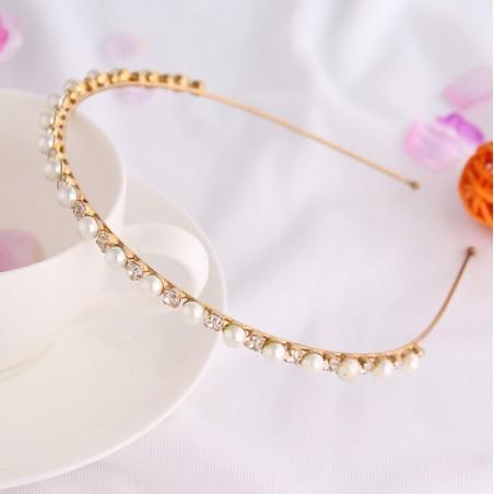 Opaska do włosów złote kryształki i perełki O162
