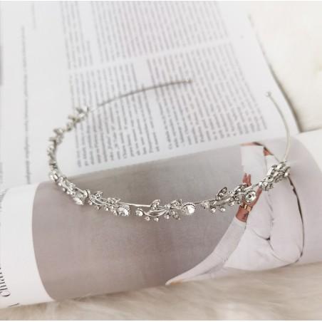 Opaska do włosów srebrna listki z kryształki O164