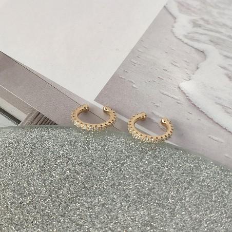Kolczyki ze stali szlachetnej platerowane złotem KST1671B