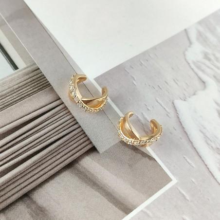 Kolczyki ze stali szlachetnej platerowane złotem KST1673