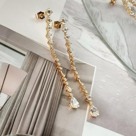 Kolczyki ze stali szlachetnej platerowane złotem KST1680