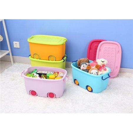 Organizer na zabawki na kółkach różowy OR17R