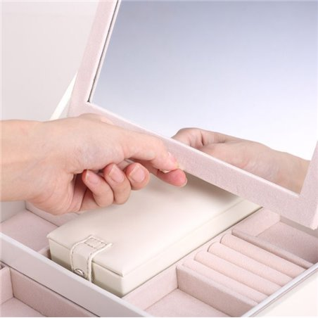 SZKATUŁKA pudełko KUFEREK LUSTERKO ELEGANCKI PD58K