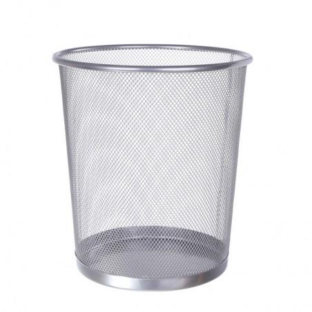Kosz z metalowy z siatki na papier 19 litrów srebrny OB02S