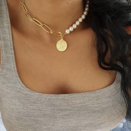 Naszyjnik delikatny perełki złoty N714