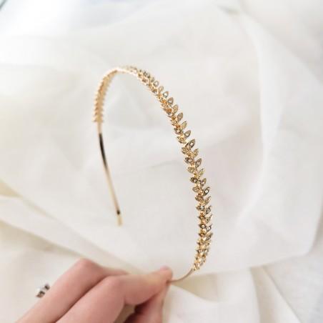 Opaska do włosów złota z kryształki O294