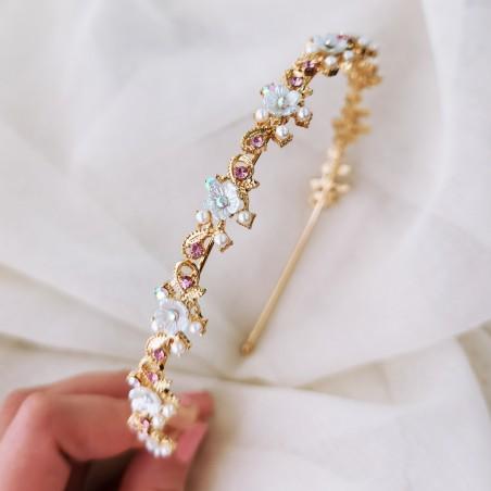 Opaska do włosów złota z kryształki O204