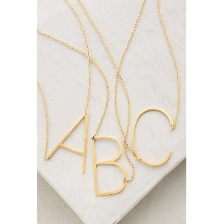 Naszyjnik stal chirurgiczna literka C platerowana złotem NST995C