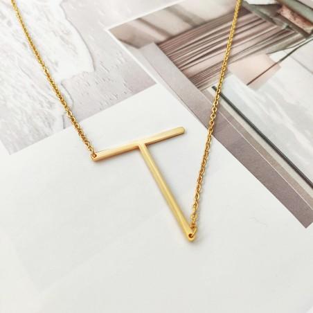 Naszyjnik stal chirurgiczna literka T platerowana złotem NST995T