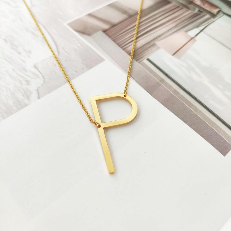 Naszyjnik stal chirurgiczna literka P platerowana złotem NST995P