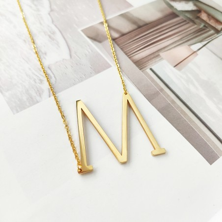 Naszyjnik stal chirurgiczna literka M platerowana złotem NST995M