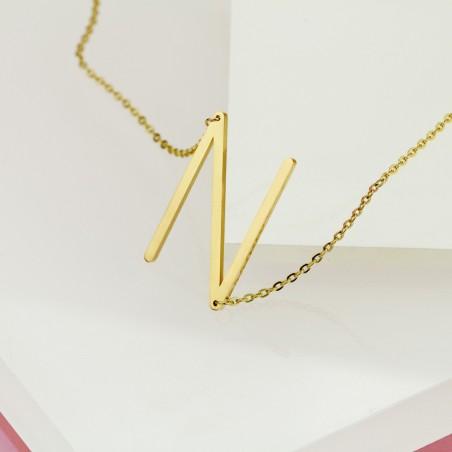 Naszyjnik stal chirurgiczna literka N platerowana złotem NST995N