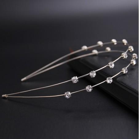 Opaska do włosów srebrna z kryształki O169