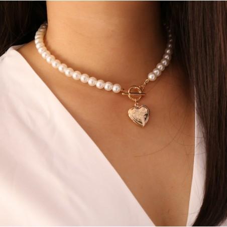 NASZYJNIK SZTUCZNE perły z sercem N716