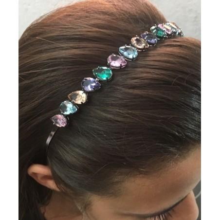 Opaska do włosów kryształki GLAM O307 srebrna