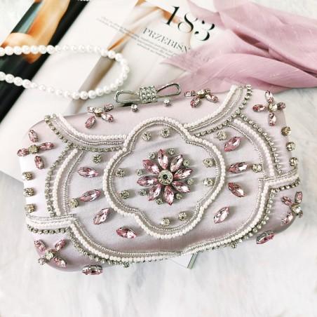 Torebka wizytowa, wieczorowa srebrna z kryształkami i perełkami, puzderko TW11