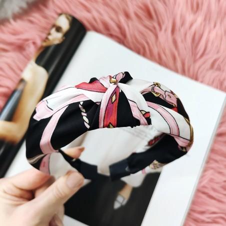 Opaska turban z materiału print O326WZ1