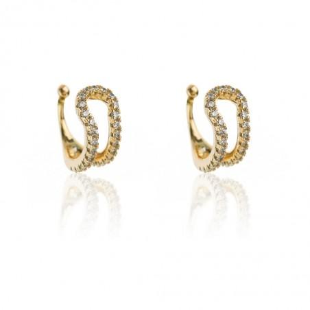 Nausznice podwójne ze stali szlachetnej z kryształkami platerowane złotem KST1731