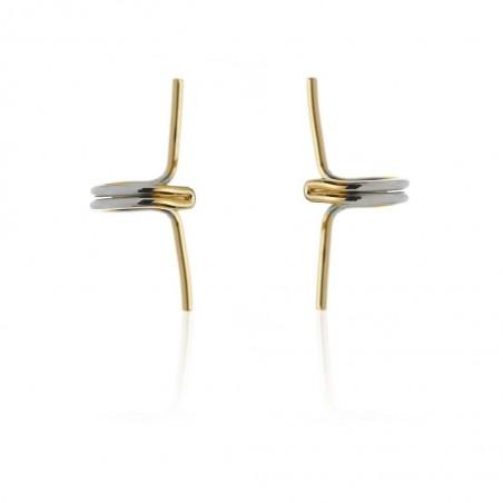 Nausznice podwójne ze stali szlachetnej złoto-srebrne proste platerowane złotem KST1716