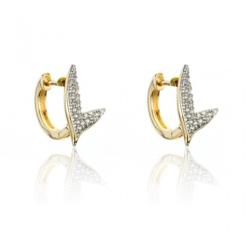 Kolczyki ze stali szlachetnej srebrne kryształy platerowane złotem KST1733