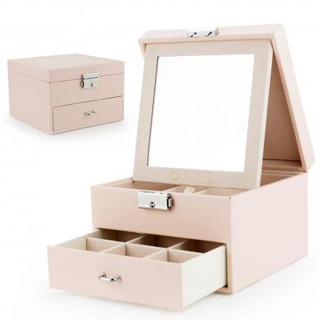 Szkatułka kuferek etui organizer na biżuterię STENBERG różowa PD70R