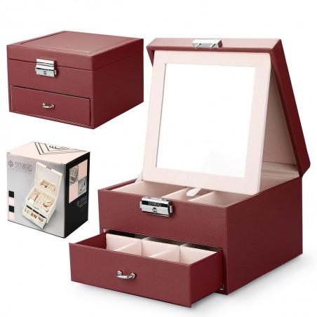 Szkatułka kuferek etui organizer na biżuterię STENBERG bordowa PD70CZE